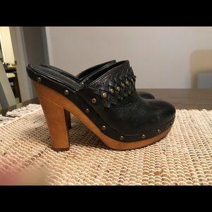 Ralph Lauren Black Leather Clogs